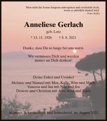Traueranzeige von Anneliese Gerlach von HZ