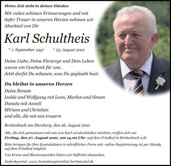 Traueranzeige von Karl Schultheis von HZ