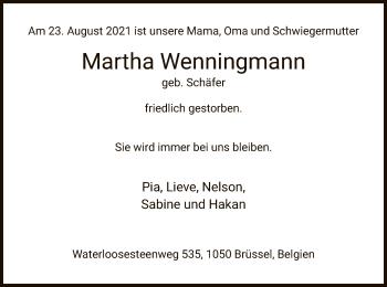 Traueranzeige von Martha Wenningmann von HZ