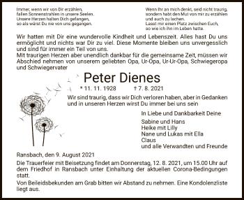 Traueranzeige von Peter Dienes von HZ