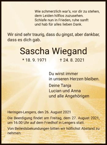 Traueranzeige von Sascha Wiegand von HZ
