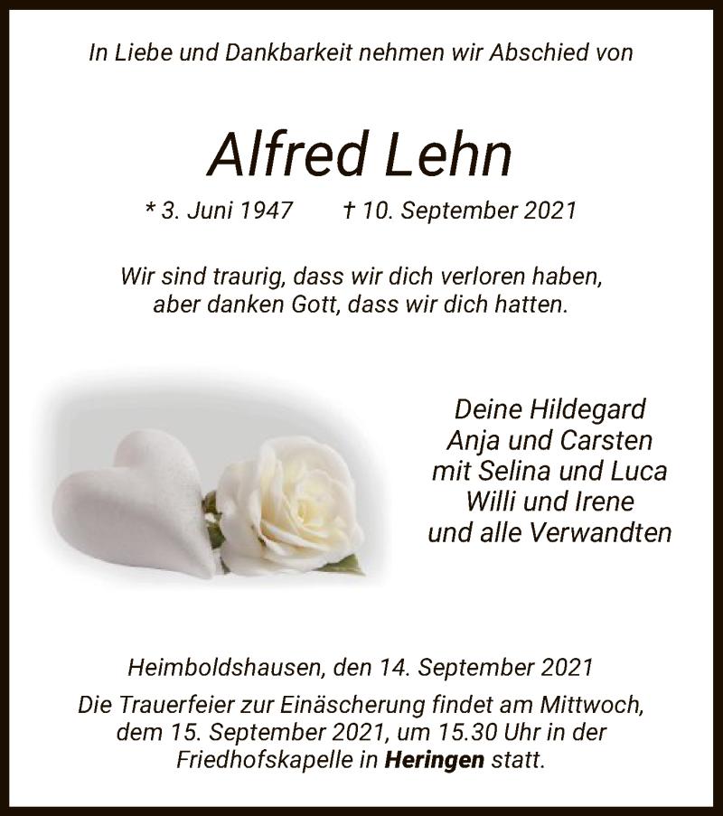 Traueranzeige für Alfred Lehn vom 14.09.2021 aus HZ