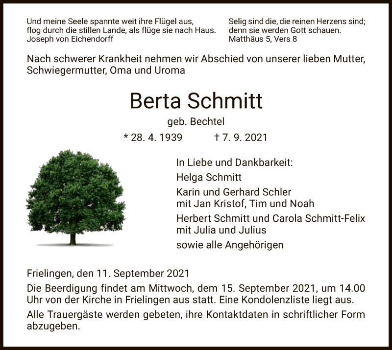 Traueranzeige für Berta Schmitt vom 11.09.2021 aus HZ