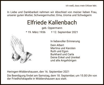 Traueranzeige von Elfriede Kallenbach von HZ