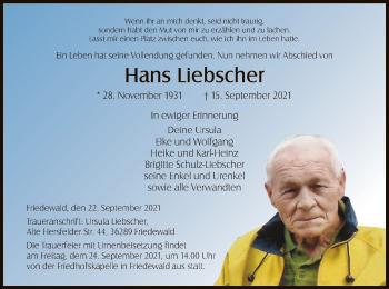 Traueranzeige von Hans Liebscher von HZ