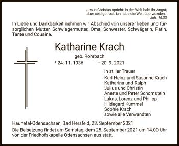 Traueranzeige von Katharine Krach von HZ