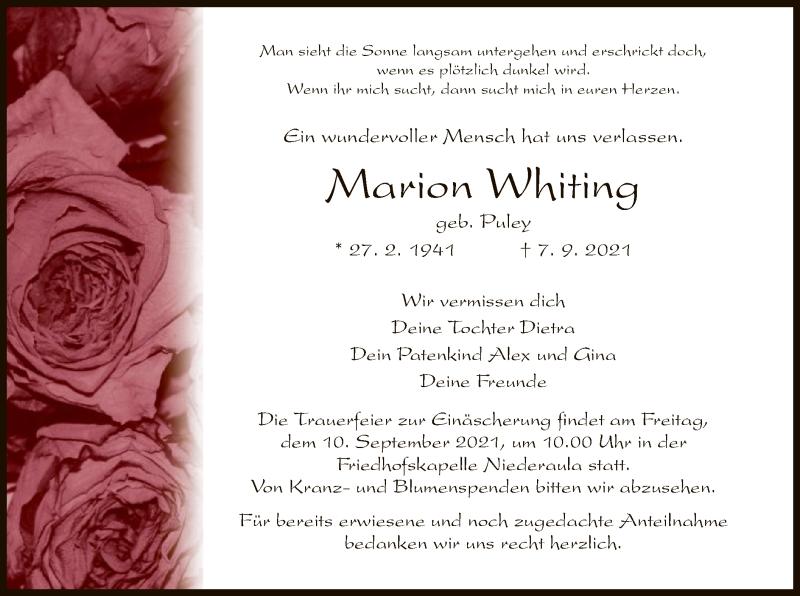 Traueranzeige für Marion Whiting vom 09.09.2021 aus HZ