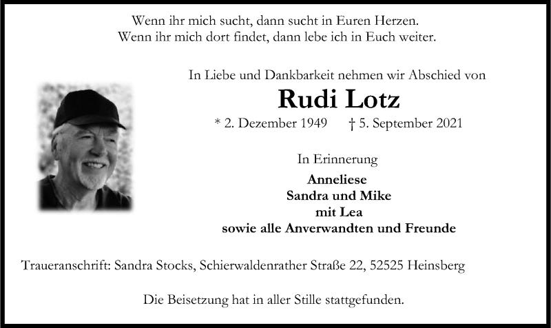 Traueranzeige für Rudi Lotz vom 11.09.2021 aus HZ